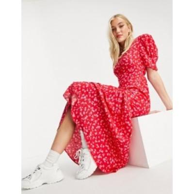 ニュールック レディース ワンピース トップス New Look tie back ruched sleeve midi dress in red ditsy floral Red pattern