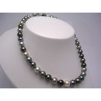 真珠 ネックレス パール 厚巻良質・ナチュラルカラー 黒蝶真珠 真珠ネックレス パールネックレス 8.3-11.2mm 20134