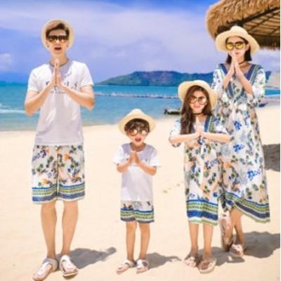 【レビュー投稿フェイスカバーゲット!】ペアルック 子供サイズ 上下セット Tシャツ+パンツ 親子ペア ボヘミア風 パパとママと子供の親子
