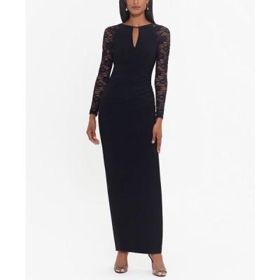 ベッツィ アンド アダム ワンピース トップス レディース Lace-Sleeve Gown Black