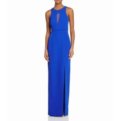 JS Collections JS コレクションズ ファッション ドレス JS Collections Womens Dress Blue Size 2 Illusion Mesh Cutout Gown