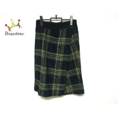 パラスパレス Pallas Palace ロングスカート サイズ2 M レディース 美品 黒×マルチ チェック柄 新着 20210120