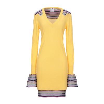 ULTRA'CHIC ミニワンピース&ドレス イエロー 38 コットン 90% / カシミヤ 10% ミニワンピース&ドレス