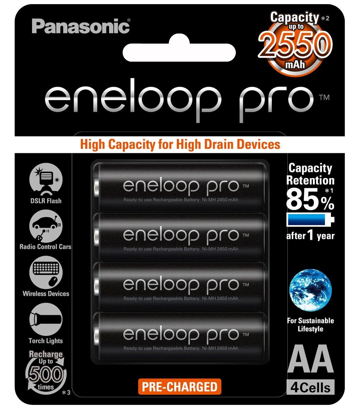 日本製 Panasonic 國際牌 eneloop pro 3號AA (大顆)  2550mAh低自放電池 4入裝送電池盒