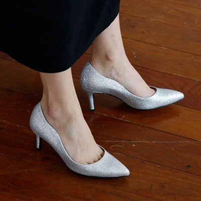 パンプス ポインテッドトゥ グリッター ラメ 黒 金 銀 ブラック ゴールド シルバー マーキュリー レディースシューズ ハイヒール 婦人靴 痛くない 結婚式
