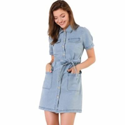 Allegra K ジーンズ デニム ワンピース ドレス ポケット付きベルト付き フル前立て レディース ブルー XS