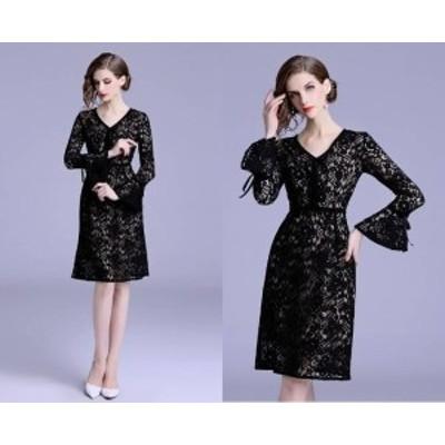 デート パーティードレス 結婚式 二次会 お呼ばれ ワンピース お呼ばれドレス ドレス 20代 30代 40代 袖フリル