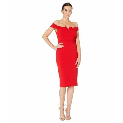 ECI ワンピース トップス レディース Off the Shoulder Sweet Heart Neck Sheath Scuba Crepe with Belt Red