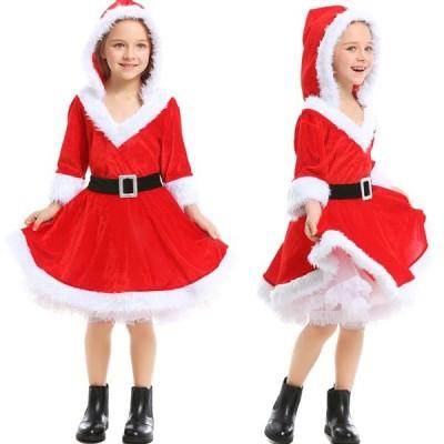 サンタ コスプレ衣装 女の子 サンタクロース クリスマス コスチューム フード付き キッズ サンタ服 サンタ フレアワンピース 仮装 演出服 子供服 パーティー
