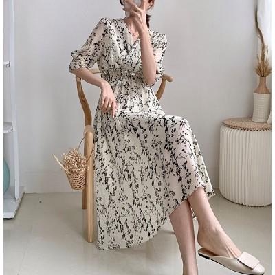 [韓国ファッション] 🌸フラワーワンピース🌸 きゃしゃながらフェミニンな雰囲気を演出