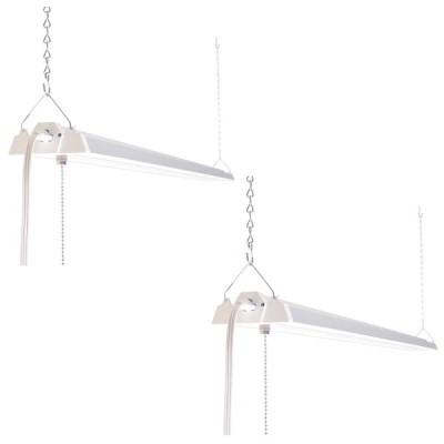 直管2灯 LEDライト チェーン吊下式 配線工事不要 電源コード付 38W 3000lm 昼白色 プルスイッチ式 2台セット