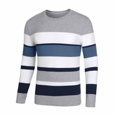 Lars Amadeus ボーター tシャツ カットソー 長袖 カラーブロック トップス プルオーバー メンズ ホワイト S