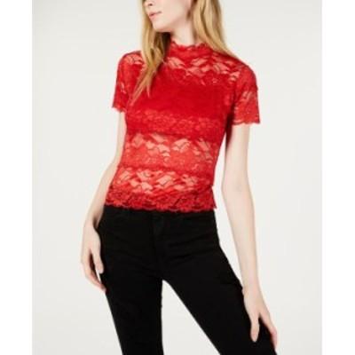 ゲス レディース シャツ トップス Shayna Mock-Turtleneck Lace Top Wear Me Red