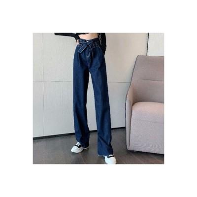 【送料無料】秋服 韓国風 ファッション ハイウエスト ひもあり ストレート 女性のジーンズ 何でも似   346770_A63704-1824369