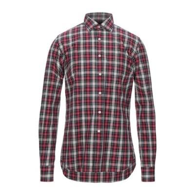 XACUS チェック柄シャツ ファッション  メンズファッション  トップス  シャツ、カジュアルシャツ  長袖 ガーネット