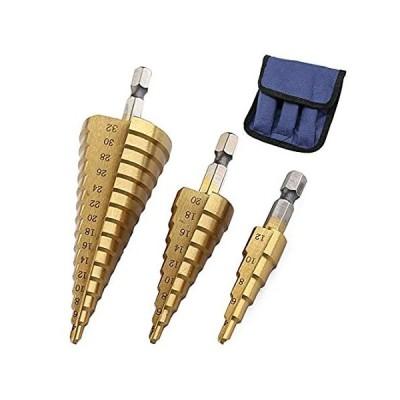 特別価格3Pcs High-Speed Steel Step Drill Bit Set, LepoHome Cone Titanium Coated Met好評販売中
