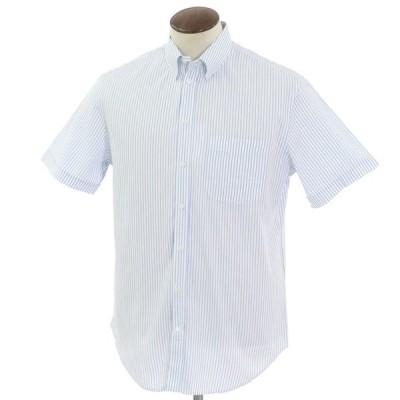 アルマーニコレツィオーニ ARMANI COLLEZIONI ストライプ柄 コットン スナップダウン 半袖シャツ ホワイト×ブルー 41