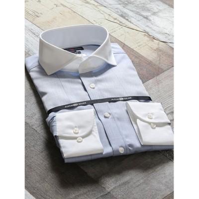 【タカキュー】 綿100%形態安定スリムフィット カッタウェイクレリック長袖ビジネスドレスシャツワイシャツ メンズ ブルー S:37-80 TAKA-Q