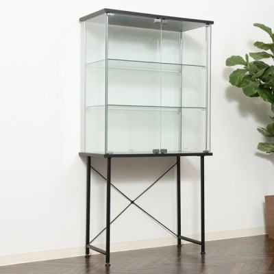 コレクションケース 3段 スタンド脚式 ガラスケース 幅73cm ( コレクションボード コレクションキャビネット ディスプレイケース )