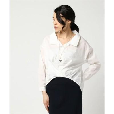 シャツ ブラウス 開襟ネックレス付前タックシャツ