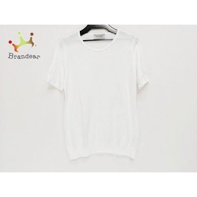 ジョンスメドレー JOHN SMEDLEY 半袖セーター サイズM レディース - 白 ハイネック   スペシャル特価 20210331