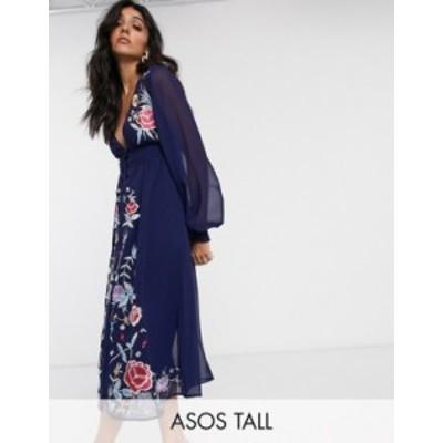 エイソス レディース ワンピース トップス ASOS DESIGN Tall embroidered long sleeve button through midi dress with shirred waist in