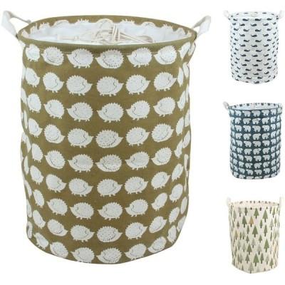 BUYUE ランドリー バスケット 洗濯かご 撥水加工 麻製 折り畳み式収納 巾着 ハリネズミ