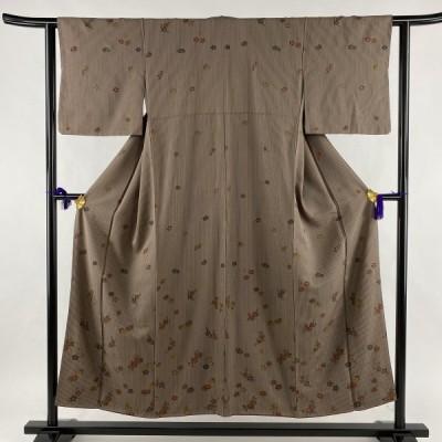 付下げ 美品 秀品 縦縞 菊 金彩 赤茶 袷 身丈152cm 裄丈61cm S 正絹 中古