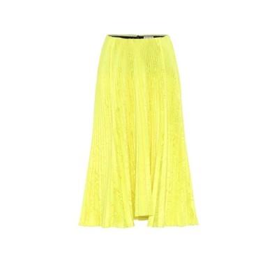 バレンシアガ Balenciaga レディース ひざ丈スカート プリーツスカート スカート Satin-jacquard pleated midi skirt Fluo Yellow