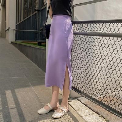 タイトスカート 紫 パープル スリット スカート レディース ミモレ丈 ひざ下 韓国ファッション メール便送料無料