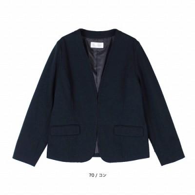 パイピング ノーカラージャケット【LL―5L】(フルールバイミントブリーズ/fleur by mint breeze)
