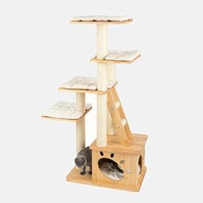 キャットタワー 大型猫 つめとぎ付き 突っ張り ツイン ベージュ猫クライミ (中古品)
