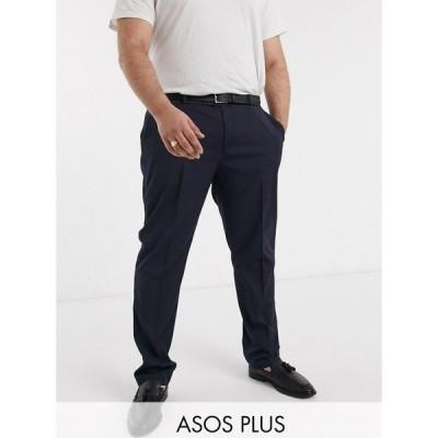 エイソス ASOS DESIGN メンズ スラックス タキシード ボトムス・パンツ Plus skinny tuxedo suit trouser in navy ネイビー