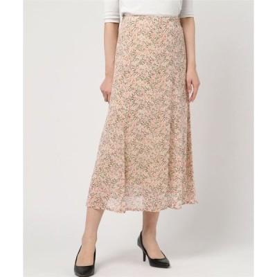 スカート シフォン花柄 マキシスカート