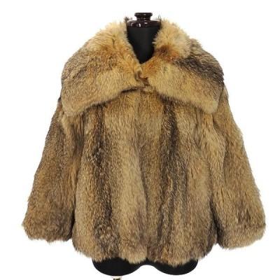 【中古】カルソン kulson フォックスファー ジャケット コート 毛皮 七分袖 40 ベージュ レディース 【ベクトル 古着】