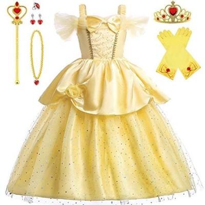 Axaxa プリンセスドレス 子供用 ベルドレス キッズ (美女と野獣風ドレス+ティアラなど)7点セット 110-130cm キッズコスチュ