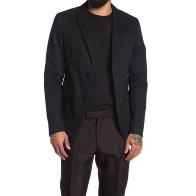 ヴァレンティノ メンズ ジャケット&ブルゾン アウター Black Solid Two Button Notch Lapel Blazer NERO