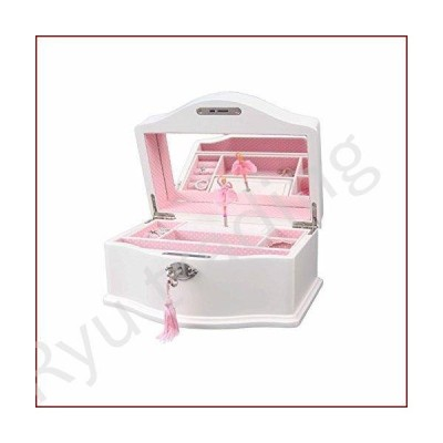 新品Art Lins Elle Ballerina Music Jewelry Box with Lock, Girl's Keepsake Storage Box, Wind Up Music Wooden Case, Large (White)