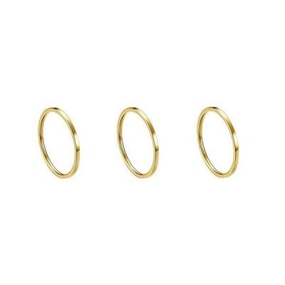 Kogl リング シンプル 指輪 幅1mm サージカルステンレス 316L (イエローゴールド,3個セット, 16)