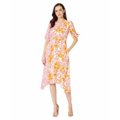 ドナモーガン レディース ワンピース トップス Short Sleeve Georgette Dress with Asymmetrical Hem and Twin Print Pink/Orange