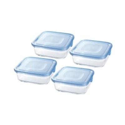 iwaki(イワキ) 耐熱ガラス 保存容器 アクアブルー 角型 M 800ml ×4個セット パック&レンジ (800ml×4個)