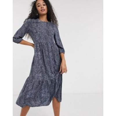 ニュールック レディース ワンピース トップス New Look tiered smock midaxi dress in blue mini polka dot Blue