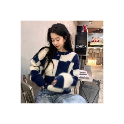 【送料無料】モヘア 長袖のセーター 女 年 秋と冬 ルース オーバーサイズ 風 スプライシン | 346770_A64518-3402351