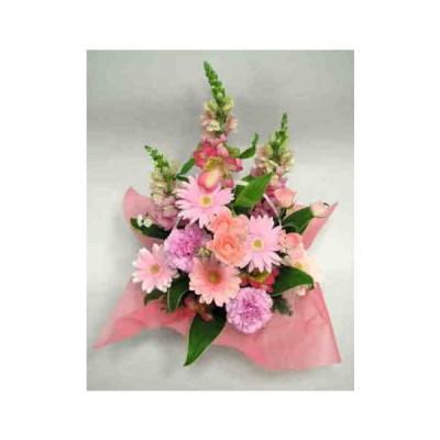 ピンクバラとガーベラのアレンジメント
