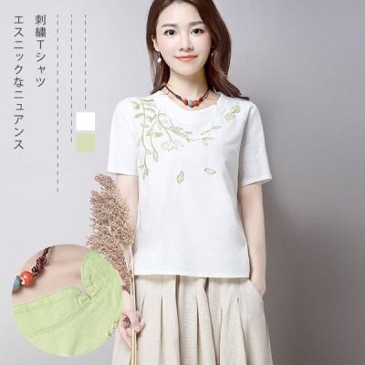 新作 夏 レトロTシャツ 刺繍 半袖 大きいサイズ tシャツ  トップス  通勤 オフィス カジュアル