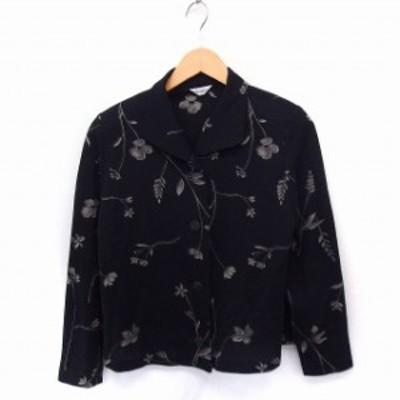 【中古】Chris montez シャツ ブラウス 花柄 長袖 透け感 S ブラック 黒 /FT4 レディース