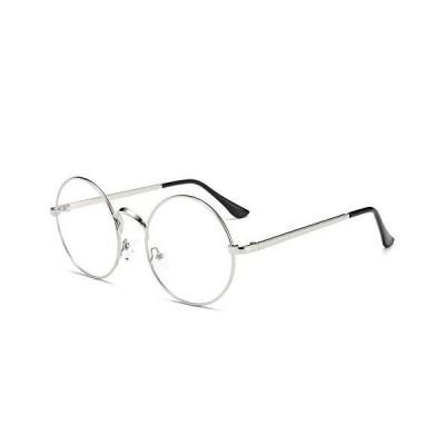 Halloween Harry Round Glasses Non-Prescription for Men Women Metal Frame clear glasses Sliver[平行輸入品]