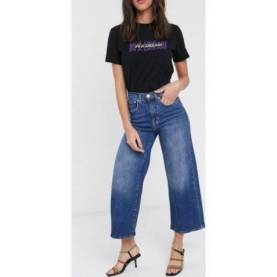 オンリー Only レディース ジーンズ・デニム ワイドパンツ ボトムス・パンツ Madison high waisted crop wide leg denim jeans ダークブルーデニム