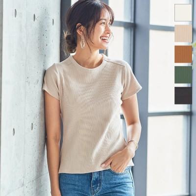 神戸レタス Tシャツ コンパクトランダムリブTシャツ [C4822] レディース トップス 半袖 大人 シンプル インナー デイリー 白 黒 エクリュ ベージュ フリー レディース