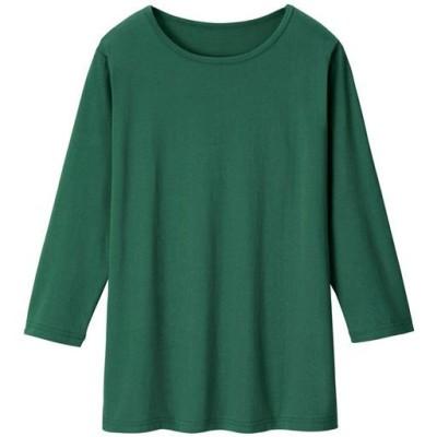 ベーシックな7分袖Tシャツ/ディープグリーン/L